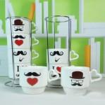 Оригинальный набор чашек с подставкой «Люблю Усы»