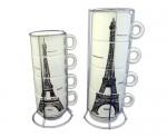 Оригинальный набор чашек с подставкой «Paris»