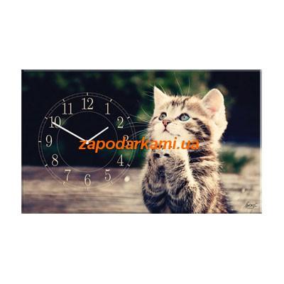 Настенные часы на холсте «Котенок»