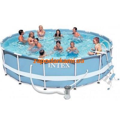 Каркасный бассейн Intex (366 см х 98 см) + лестница + фильтр-насос