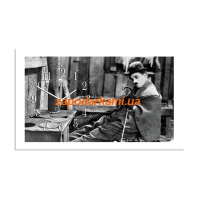 Настенные часы на холсте «Чарли Чаплин»