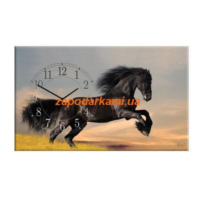 Настенные часы на холсте «Скакун»