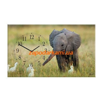 Настенные часы на холсте «Слоненок»