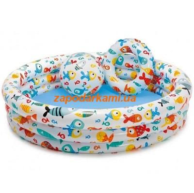 Надувной детский бассейн Intex + круг + мячик (132см х 28см)