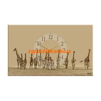 Настенные часы на холсте «Жирафы»