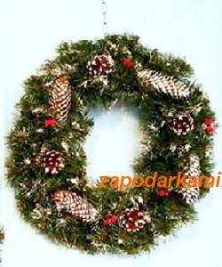 Рождественский оберег c декором -диаметр 50см