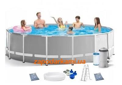 Каркасный бассейн Intex  (305 см х 99 см) + лестница + фильтр-насос