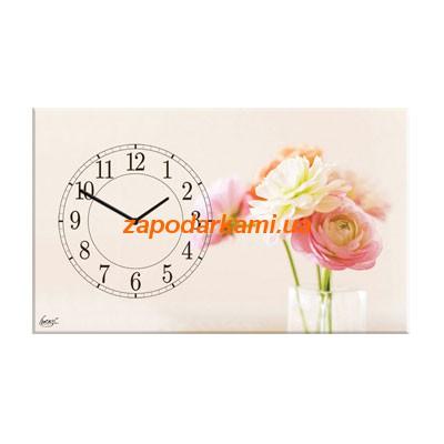Настенные часы на холсте «Цветы»